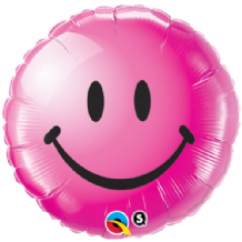 "Smiley Face Magenta Foil Balloon (18"") 1pc"